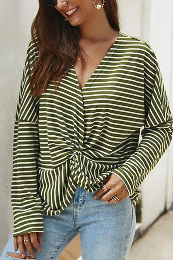 Casual Striped Loose V Neck Long Sleeve T-Shirt