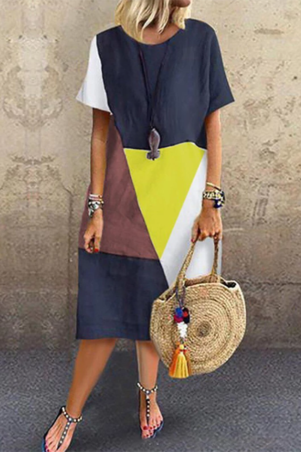 Casual Cotton And Linen Contrast Color Dress