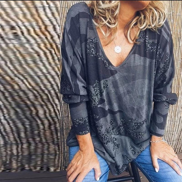 Camouflage V-Neck Long-Sleeved Casual Loose T-Shirt