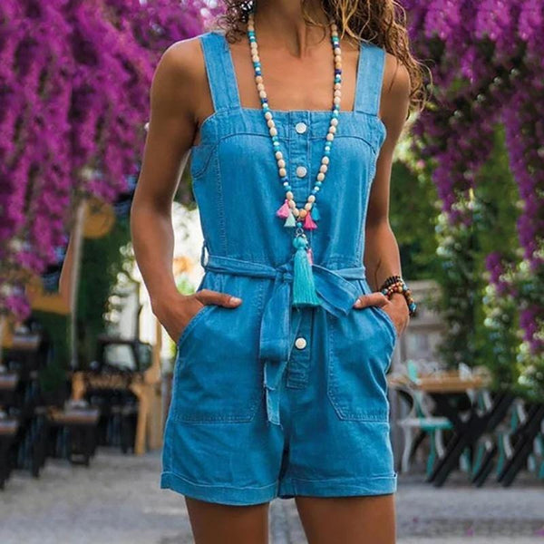 Casual Square Collar Sleeveless Solid Color Jumpsuit
