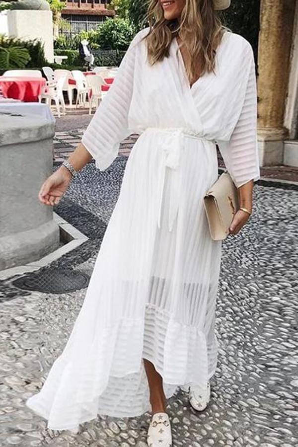 Sweet Striped Deep V Belted Ruffled See-Through Dress