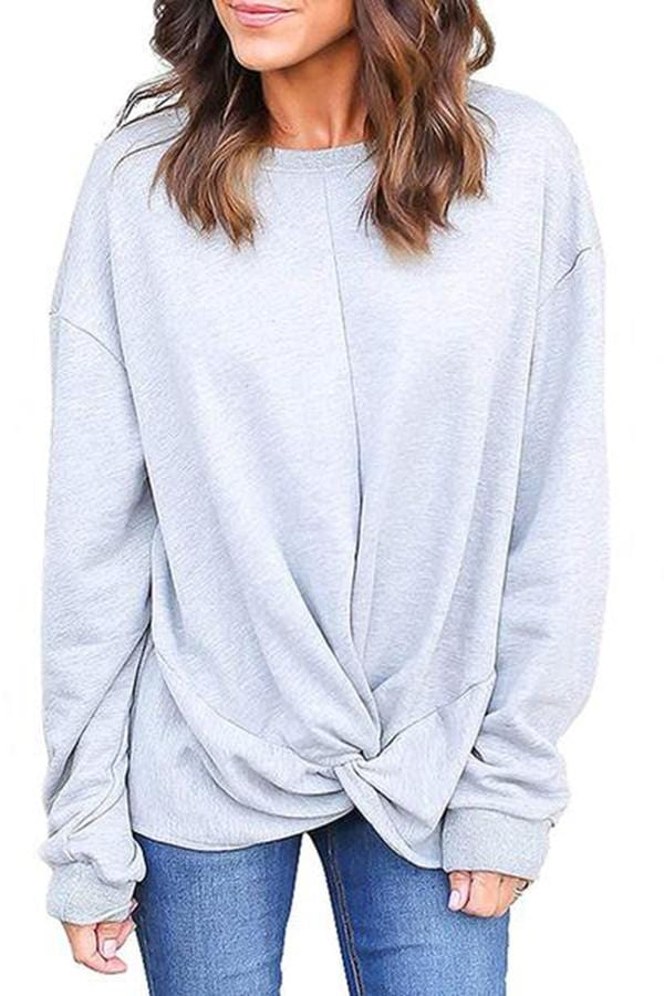 Casual Round Neck Long Sleeve Pure Color  Sweatshirt