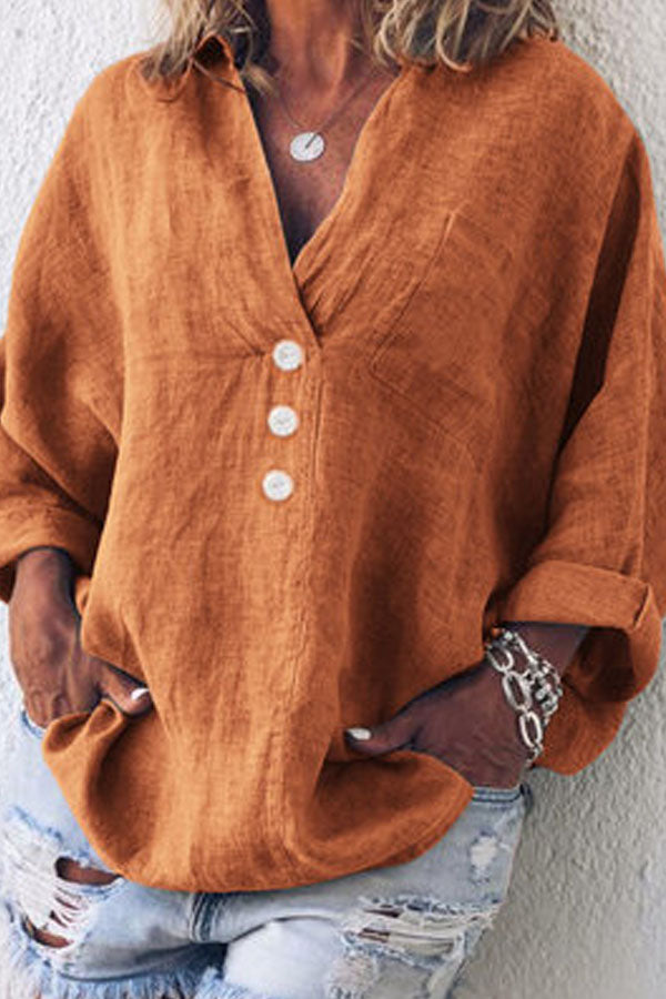 Casual V Neck Cotton Linen Button Pure Colour Thickening Shirt