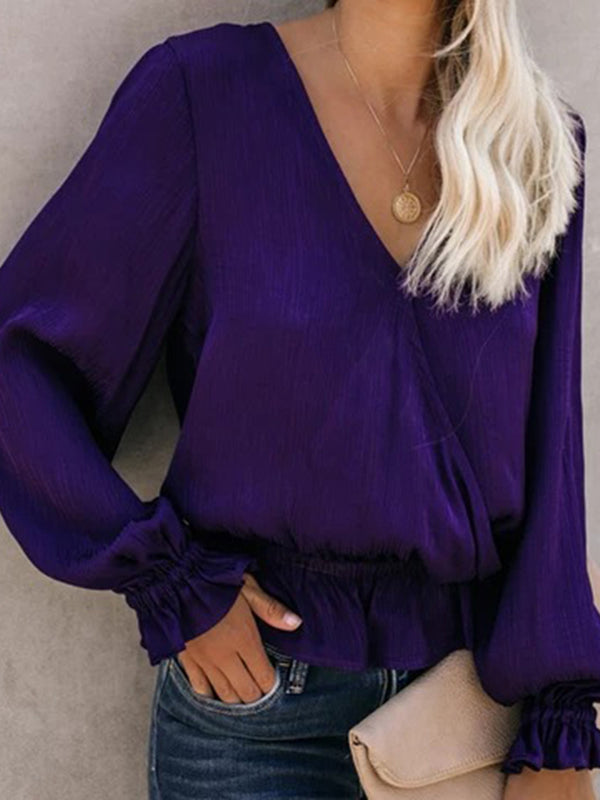 Casual Deep V-Neck Stitching Long-Sleeved Shirt