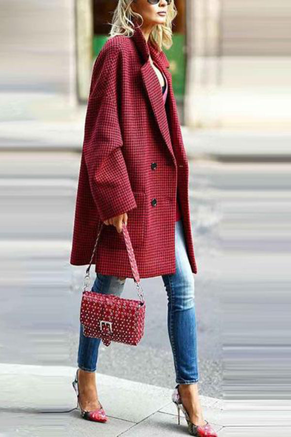 Fashion Fold-Over Collar Plaid Pocket Coat
