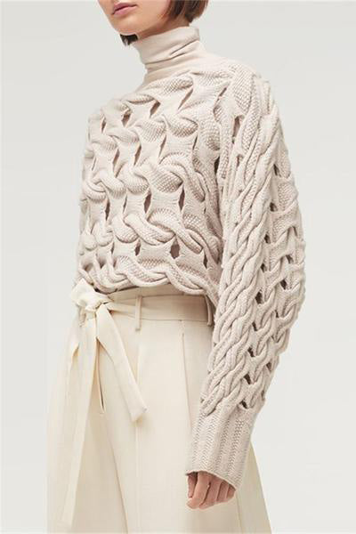 Fashion Solid Color Openwork Knit Sweater