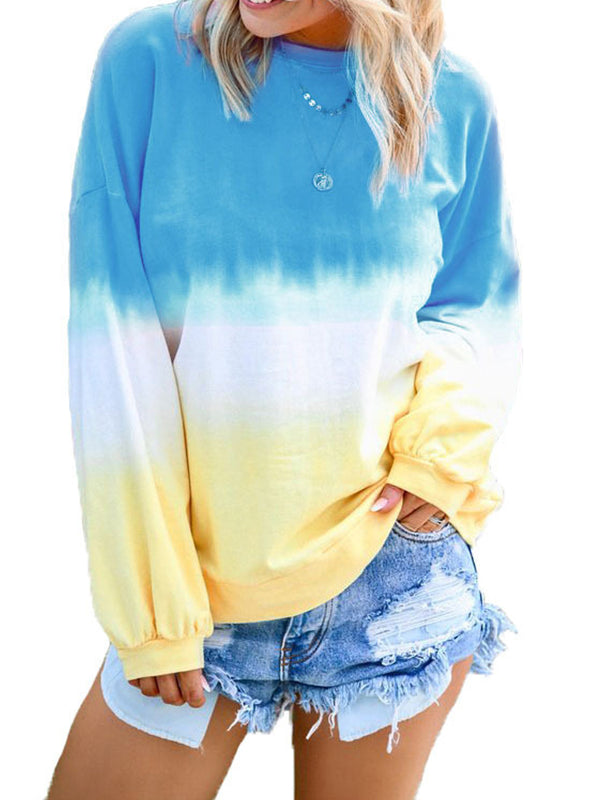 Rainbow Gradient Print Long Sleeve T-Shirt