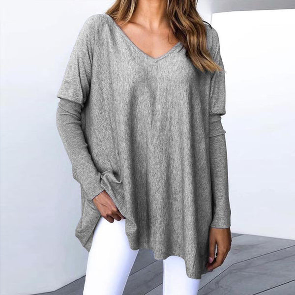 Cashmere V-Neck Long Raglan Sleeve T-Shirt