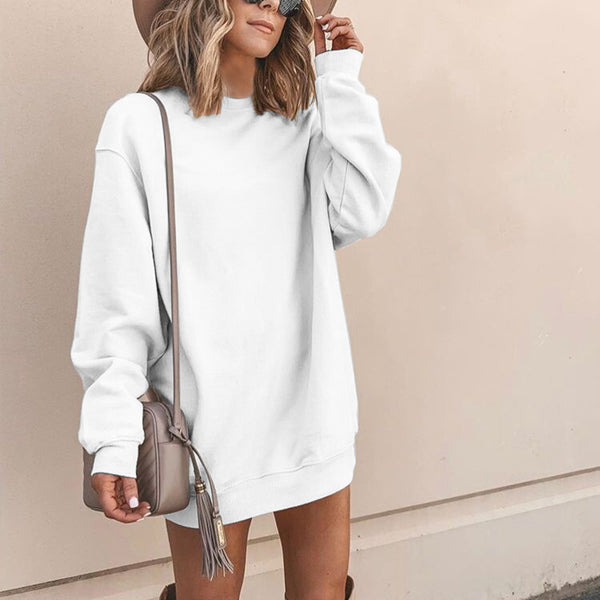 Casual Round Neck Solid Color Stitching Sweater