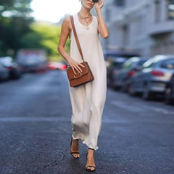 Simple Solid Color Round Neck Sleeveless Long Dress