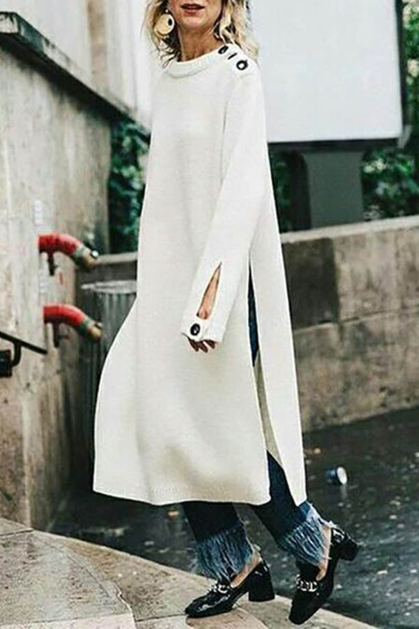 Casual Round Neck Solid Color High Slit Button Long Knit Dress