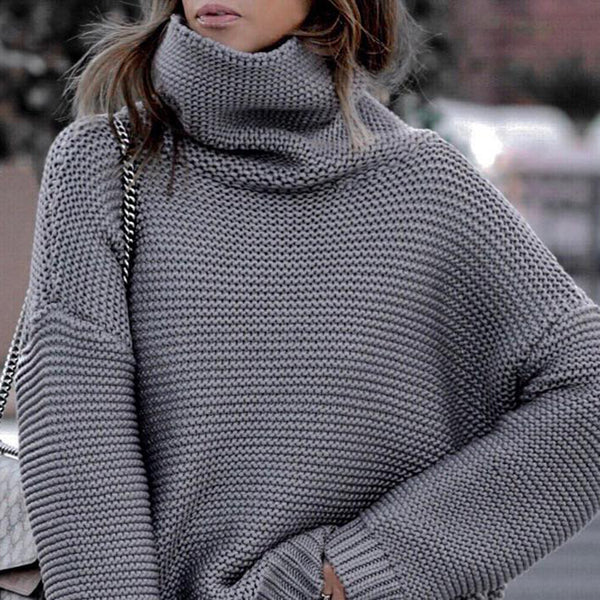 Casual Knit High Collar Long Sleeve Sweater