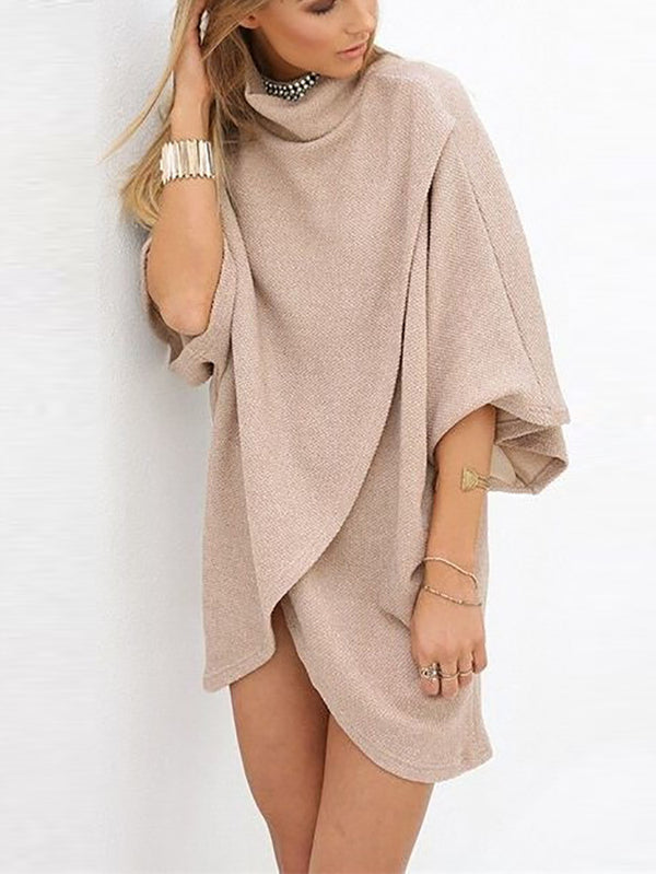 Fashion Design Pure Colour High Collar Batwing Sleeve Loose Dress