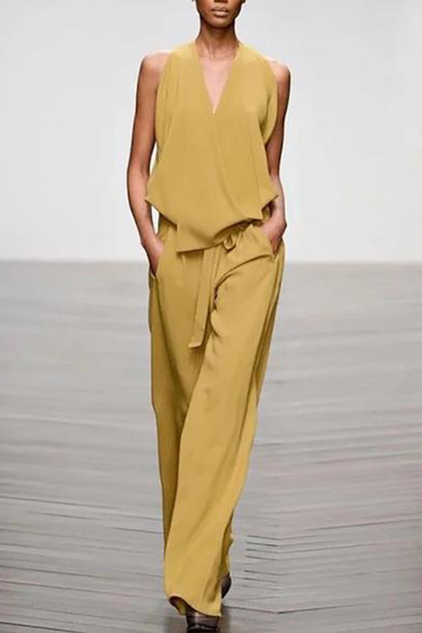 Casual V Neck Lace-Up Pure Color Jumpsuit