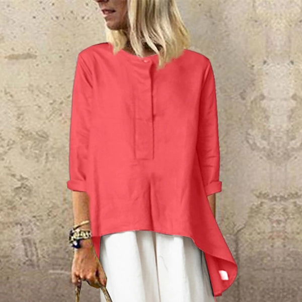 Casual Round Neck Short Sleeve Pure Colour Top