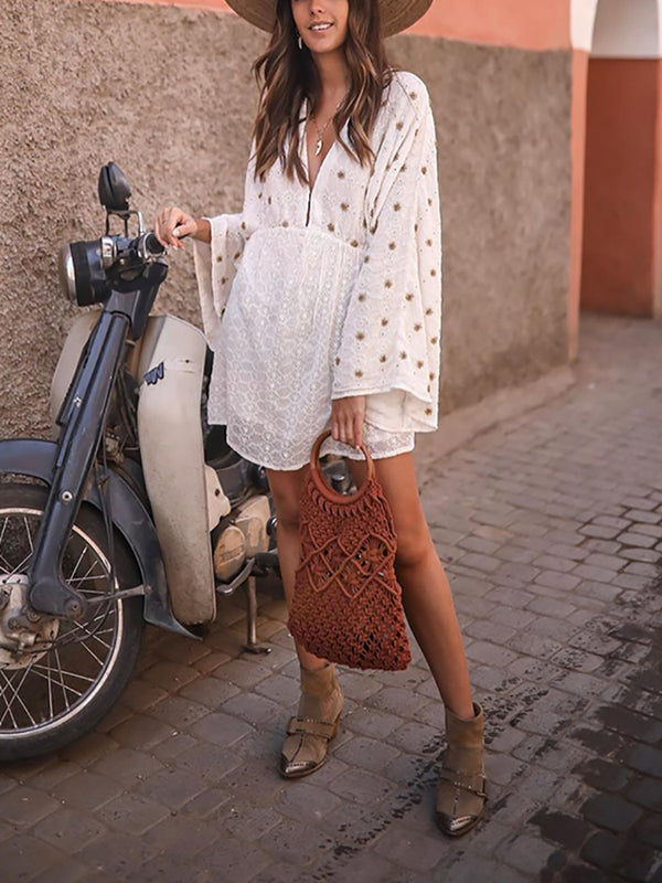 Casual Printed V Neck Bell Sleeve Dress