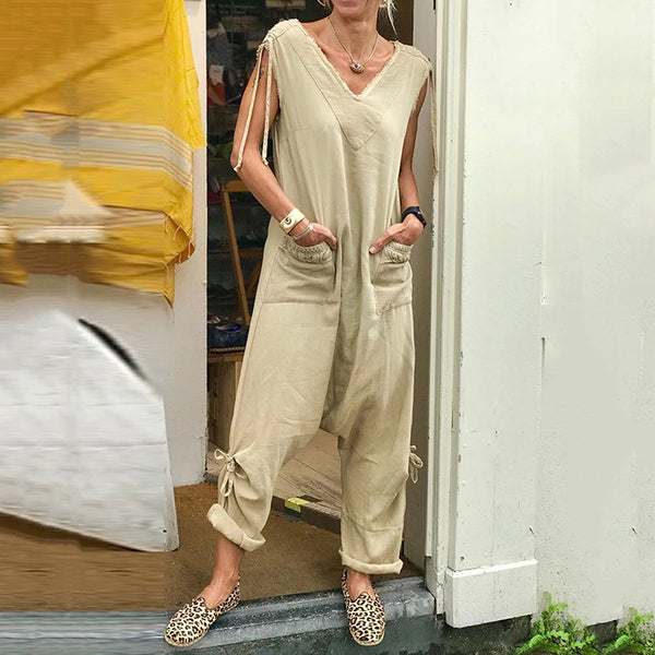Casual Pure Color V Neck Sleeveless Jumpsuit