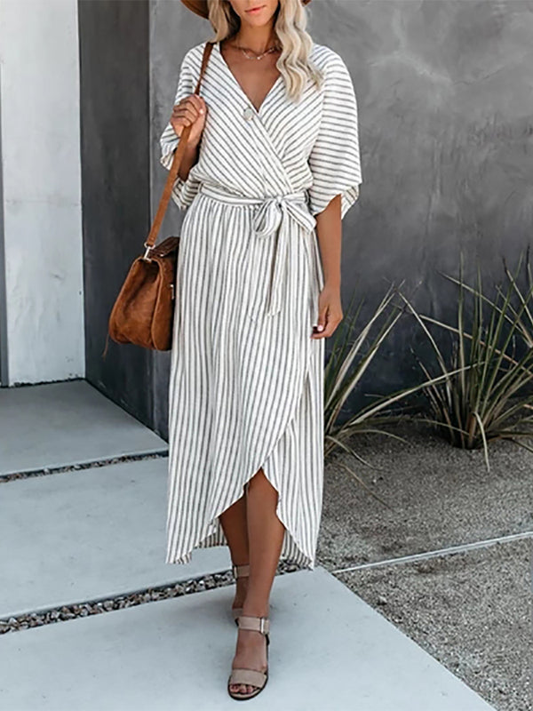 Casual Half Sleeve V Neck Belt Dress