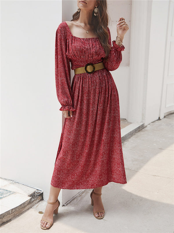 Square Collar Long Sleeve Floral Dress