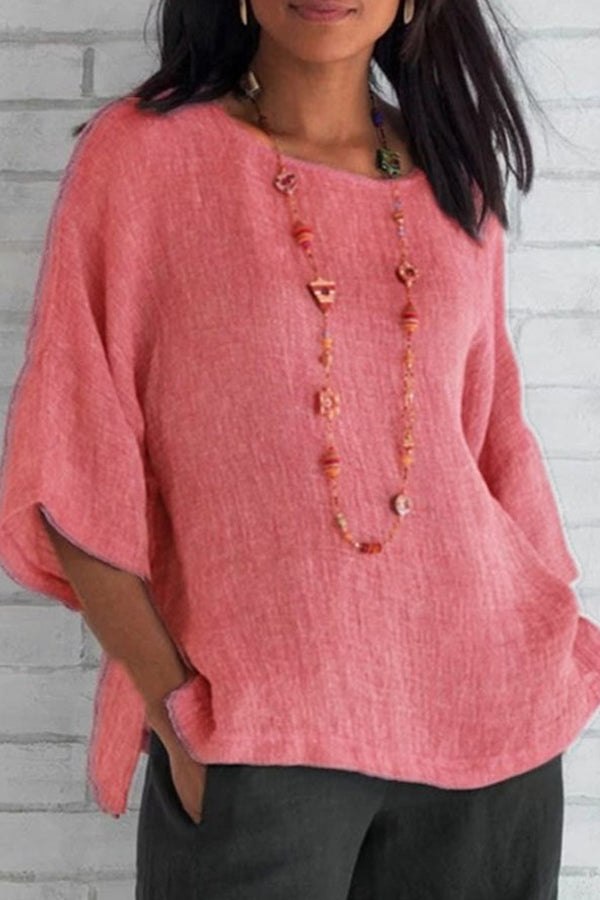 Casual Round Neck Three Quarter Sleeve Plain Blouse