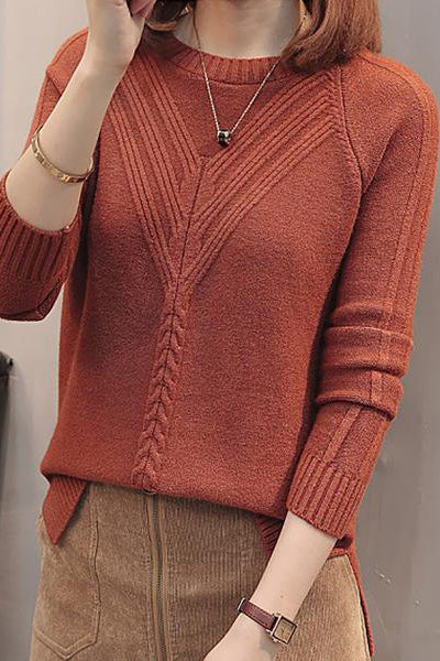 Round Neck Patchwork Elegant Plain Long Sleeve Knit Pullover