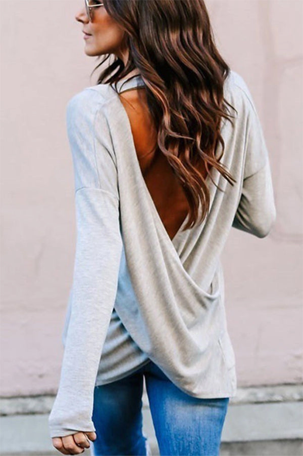 V Neck Backless Plain T-Shirts