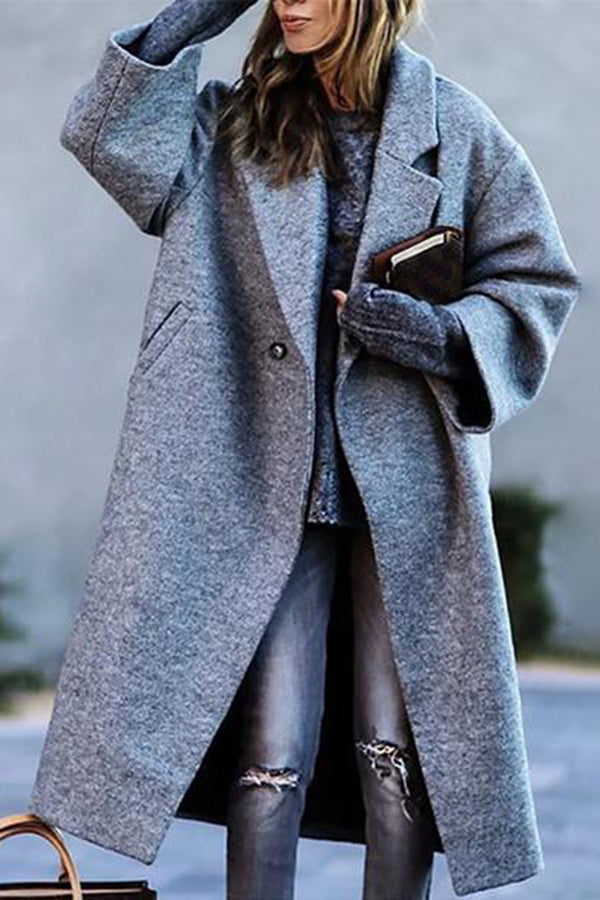 Fashion British Style Solid Color Ladies Coat
