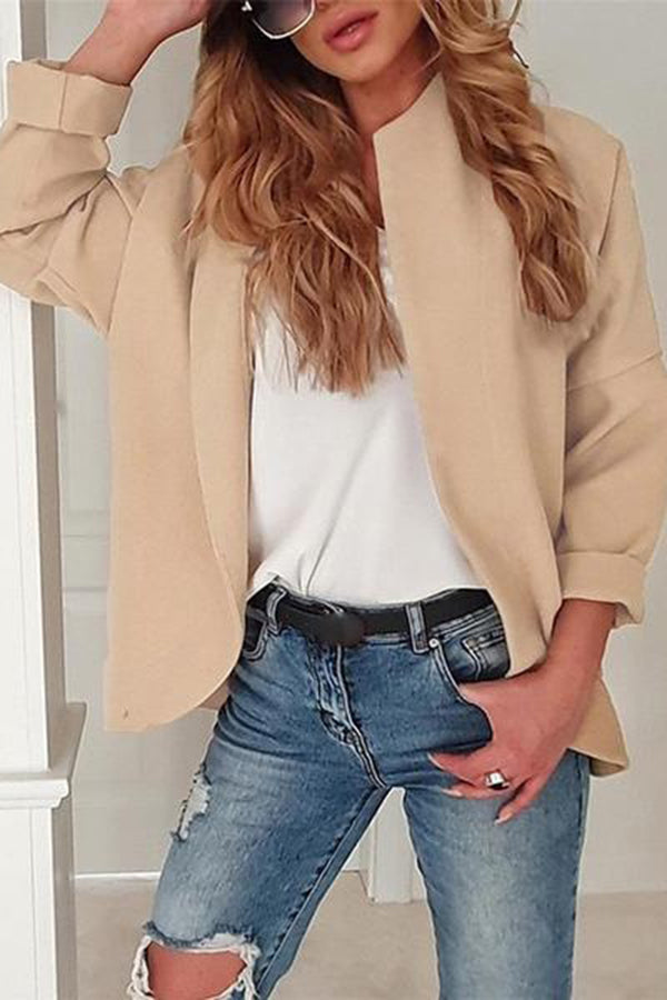 Casual Long Sleeved Solid Color Cardigan