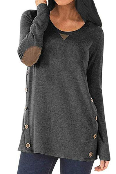 Round Neck Patchwork Casual Decorative Button Decorative Patch Long Sleeve T-Shirt
