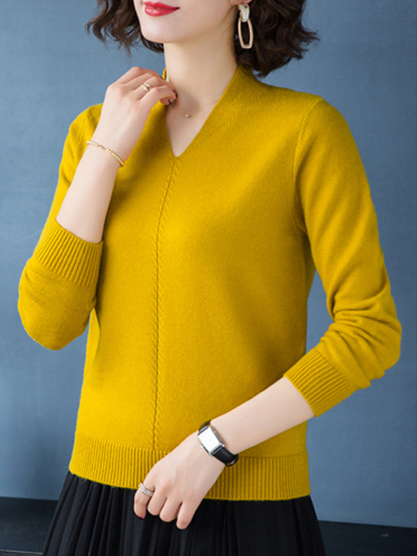 V Neck Patchwork Elegant Plain Long Sleeve Knit Pullover