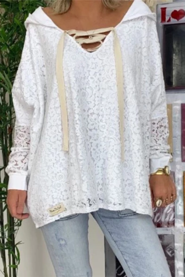 Hooded V-Neck Lace Shirt