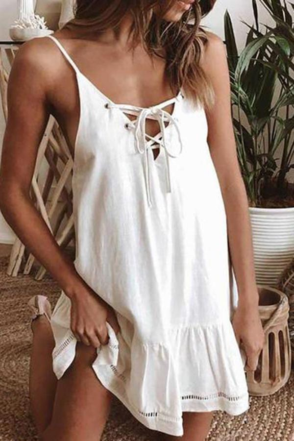 Summer Tie Front Ruffle Casual Dress