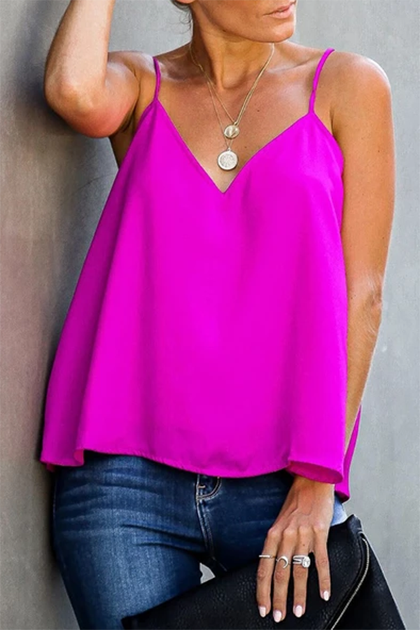 Brief Loose V Neck Pure Colour Sling Tank Top