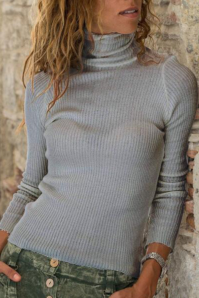 Casual High Collar Solod Color Knit Sweater