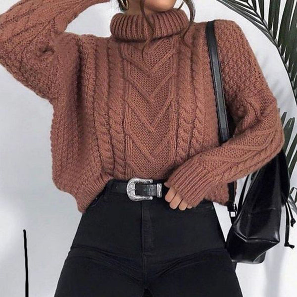 Casual Daily Pile Collar Solid Color Sweater