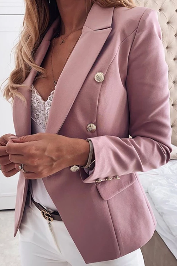 Formal folded collar solid color stitching ladies suit