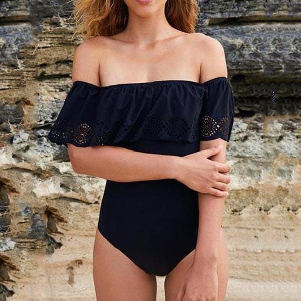 Sexy Off Shoulder Solid One Piece Ruffle Swimwear