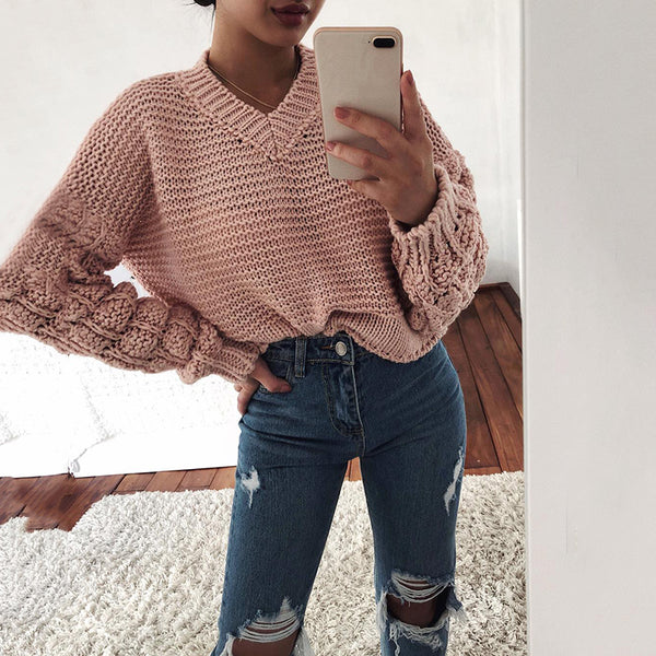 Women's Casual Pure Color Loose Korean version Sweater