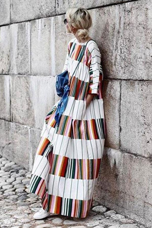 Round Neck Half Sleeve Color Block Casual Dress