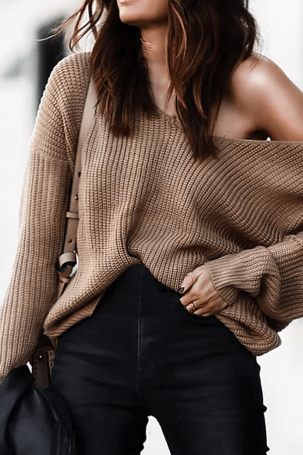 Fashion Strapless Collar Stitching Solid Color Sweater