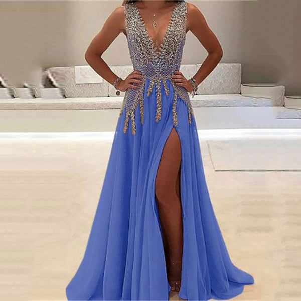 Deep V Sexy Perspective Long Evening Dress