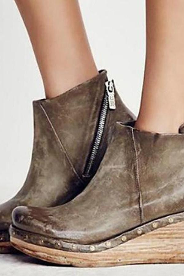 Fashion Winter Wedge Heel Zipper Boots
