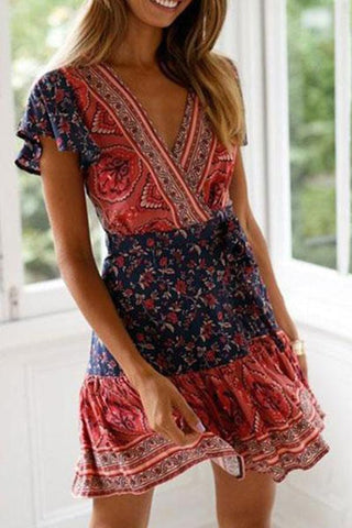 Women Floral Print Short Sleeve Mini Dress