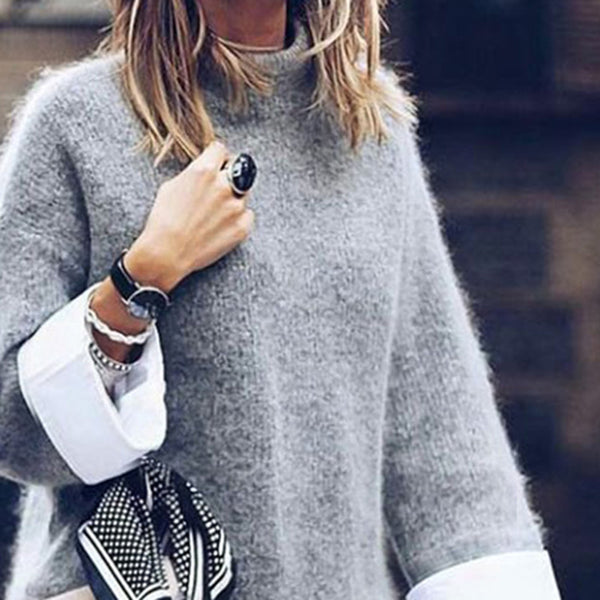 Casual High Collar Gray Long Sleeves Fluffy Sweater