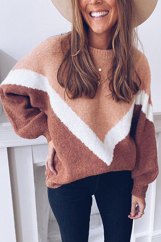 Women's Fashion Coloring Round Neck Long Sleeve Loose Sweater