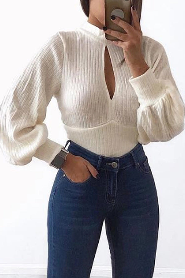 Casual round collar solid color trumpet sleeve T-shirt