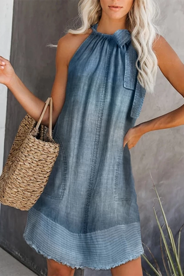 Casual Sleeveless Pure Colour Stripe Dress