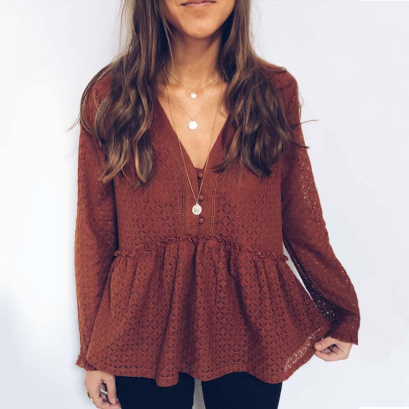 Casual Loose V Neck Long Sleeves Ruffled Hem Shirt