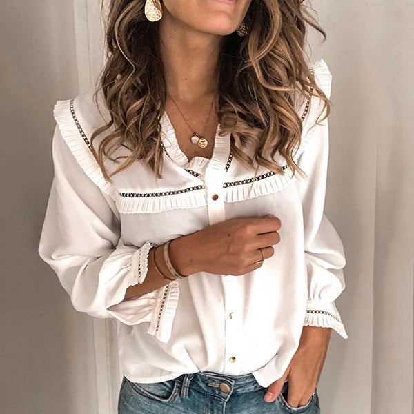 Brief White Long Sleeves V Neck Ruffled Shirt