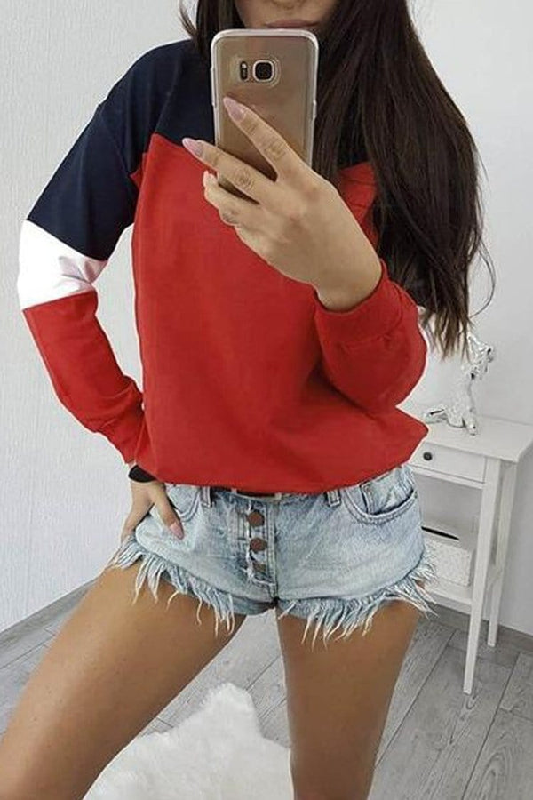 Casual Colorblock Pullover Long Sleeve Shirt